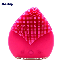 Silicone Facial Cleanser Sonic Face Cleansing Brush Facial Massager Electric Face Cleanser Vibrate Waterproof Skin Care Device(China)