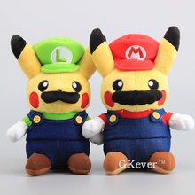 "Anime 2 Pcs/Set Super Mario Bros Mario & Luigi Pikachu Soft Dolls Pikachu Cosplay Mario Plush Toys 9"" 22 CM Kids Cute Gift(China)"