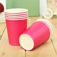 Disposable Paper Cups Plastic Wedding Vending Party Supplies Tumblr Glasses New Solid Candy Color Children's Day 10 pcs/lot