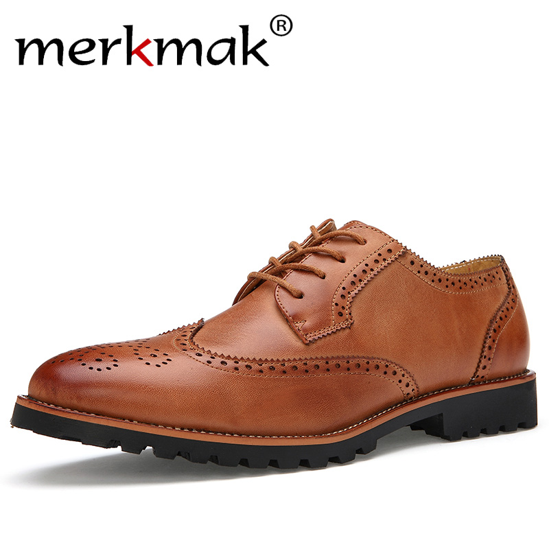 New Arrival Plus Size Vintage Leather Mens Shoes Business Formal Brogue Pointed Toe Carved Oxfords Vintage Wedding Dress Shoes<br>