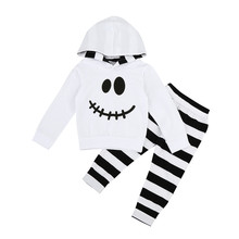 Autumn  Winter baby clothes Infant Baby Boy Girl Little Devil Hood Blouse Stripe Pants Halloween 2PC Outfits Set  lowest price