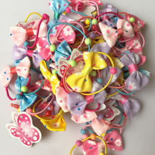 20PCS/LOT Sweet Small Ribbon Bow Elastic Hair ropes Kids Hair ties Adorable Ponytail Holder Hair Accessories Headwear A94