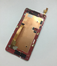Touch Screen Digitizer Sensor Glass Lens + LCD Display Monitor Panel Module Assembly with Silver Red Frame For HTC Desire 600