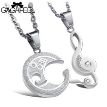 Vintage Stainless Steel Fine Jewelry Men Women Couples Crystal Natural Stone Music Note Pendant Necklace Lovers Best Gifts N823
