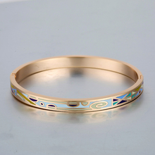 Authentic Indian cuff Bangles Gold Luxury Brand open real Enamel Bracelet for women Slim Joyas Stainless Steel Jewellery