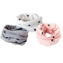 Neck Warmer Unisex Children Cartoon Printing Scarves Winter Cotton O Ring Scarf Girl Boy Rabbit Scarves Neck Shwal