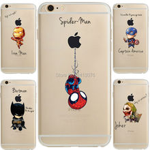 Marvel Comics DC Comics Iron Man Spider-Man joker Batman Transparent soft silicone cover Case for iphone 7 5S 6S 6 SE plus Capa