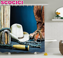 Western Decor Shower Curtain Equestrian Backdrop with Antique Horseshoe Hat Cowboy Texas Style Fabric Bathroom Decor Set Blue Br