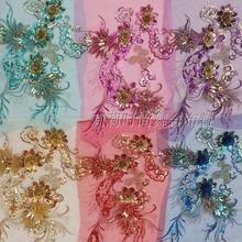 30*40cm blue gauze embroidery Sequin cloth applique three-dimensional Flower Rhinestone stage costume accessories(China)