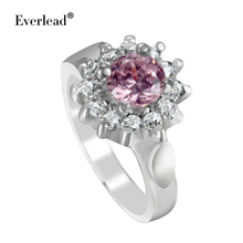 Everlead Vintage Women Rings New Design Silver Plated High Quality Red Cubic Zircon Rings Include Free beautiful Jewelry Box(China)