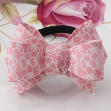 MISM Printing Flower Decoration Big Bow Elastic Rubber Bands Hairwear Gum Hair Accessories for Women&Girls Plaid Rope Scrunchies