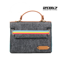 2016 Brand Felt Briefcases For Men High Quality Leather Handle Laptop bag Fashion Luxury Business Hangbag Father Husband Gift(China)