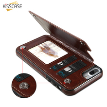 KISSCASE Flip Wallet Leather Case For iPhone 6 6S 8 7 Plus X For Samsung S7 Edge Galaxy S8 Plus Card Slot Magnetic Holder Cover
