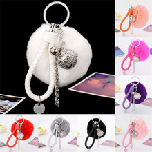 8 colors OTOKY Gussy Life Hot Cute Fur Ball Cell Phone Car Keychain Pendant Handbag Charm Key Ring May2917