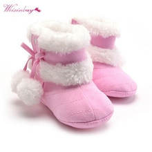 Baby Shoes Boots Girls Soft Plush Booties Infant Anti Slip Snow Boots 5 Colors Shoes Warm Snow Baby Girl Winter Boots(China)
