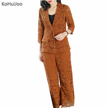 Buy KoHuiJoo Spring Summer Office Ladies 2 pieces Pants Suit Women Fashion office Lace Blazer Jacket Pants Suit Sets Plus Size for $40.42 in AliExpress store