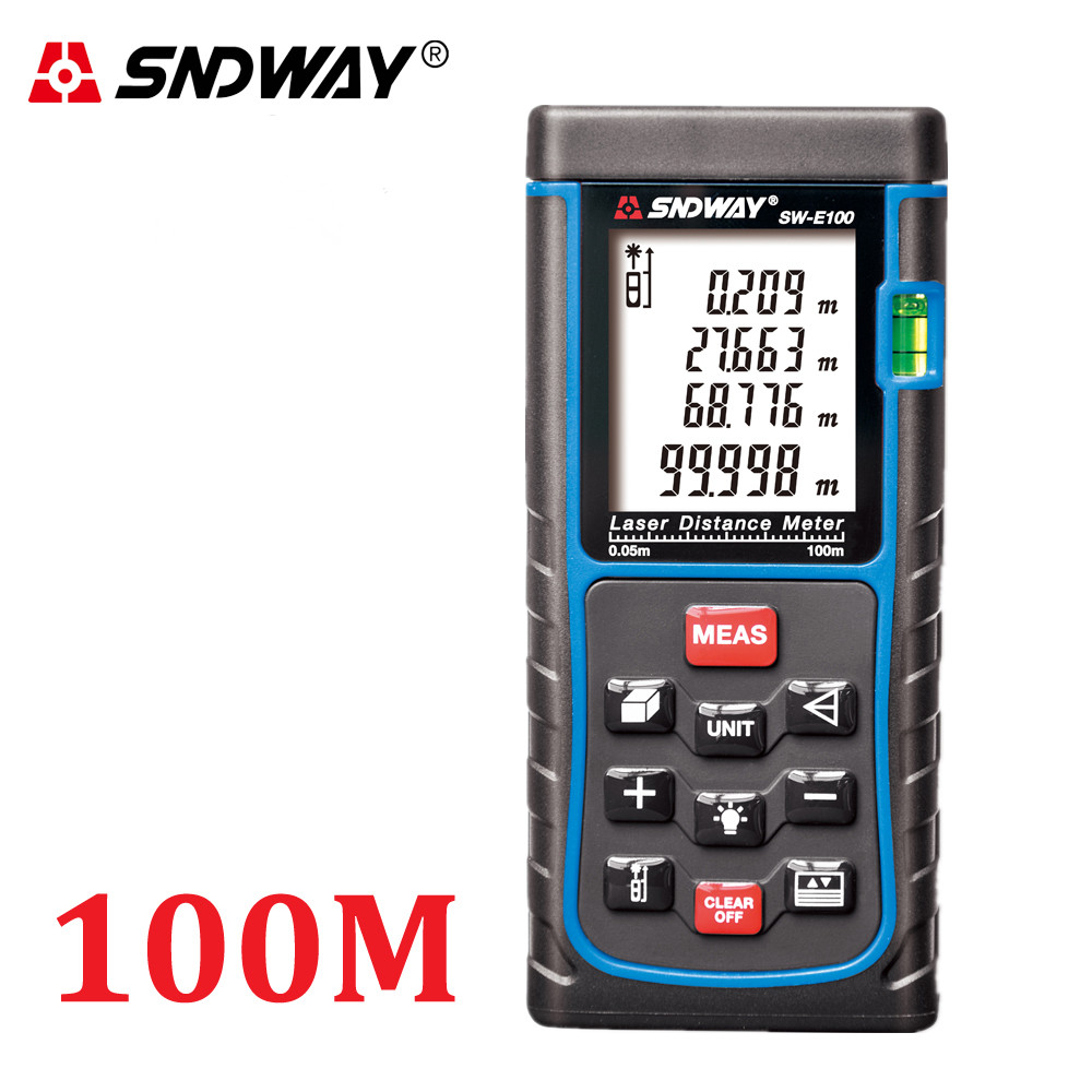 SNDWAY 100m Laser distance meter m/in/ft bubble level tools trena laser Rangefinder Range finder Tape measure Area/Volume RZ100<br><br>Aliexpress