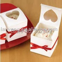 Free Shipping White Favor Box With Heart Shaped Window  Single Cupcake Boxes With Ribbon 50pcs