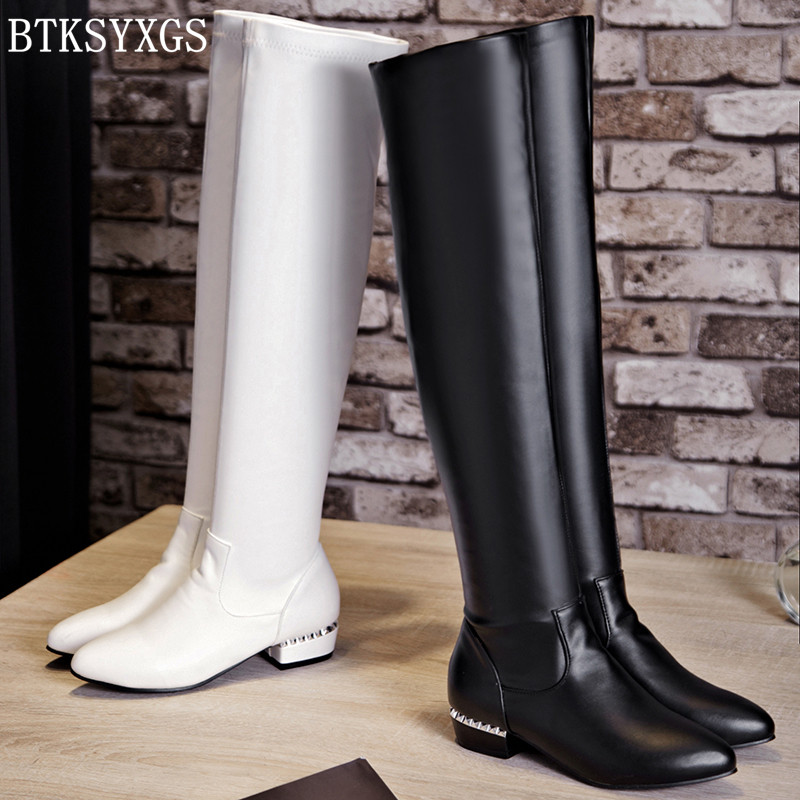BTKSYXGS 2017 women over the knee high flat heel boots Leather fashion Ladies womens snow boots Woman winter shoes / size 34-43<br>