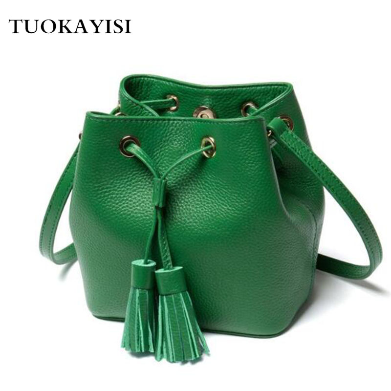 Genuine Leather Women Bucket Messenger Bag Cow Real Leather Shoulder Bags for Ladies Handbag Bolsa Feminina Small Purse<br>