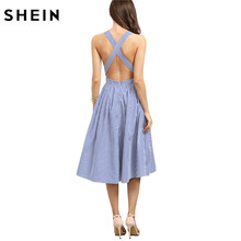 SHEIN Women New Arrival Sexy Midi Dresses 2016 Summer Blue Striped Square Neck Sleeveless Crisscross Back A Line Dress(China)