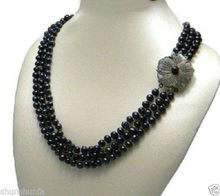 Free shipping@@@@@7-8mm Natural Real black pearls necklace collier flower mother Buckle 17--19