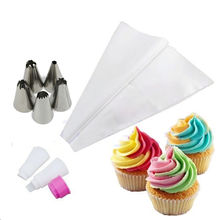 5Pcs/Set Russian Double Two Color Cake Dessert Decorators Icing Piping Bag Cream Pastry With Nozzles Converter Topper DIY Baking
