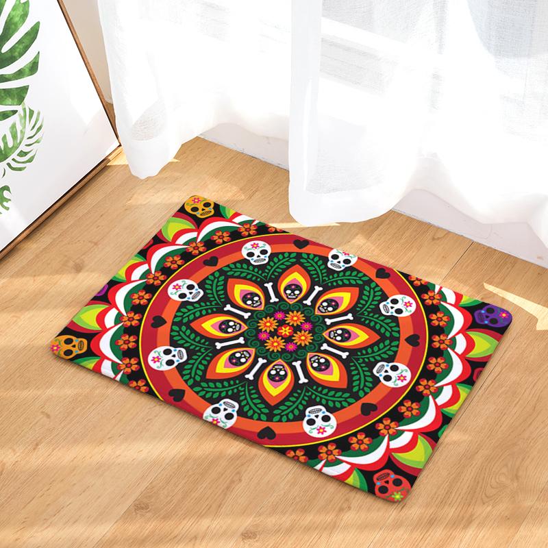 Flannel Floor Mats Round Wreath Printed Bedroom Living Room ...