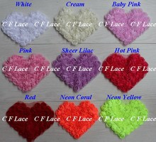 "Free ePacket/CPAP 5""x4"" 240pcs 17 colors Chiffon Rosette Shabby Heart,Shabby Chic Chiffon Heart Appliques,Hair Accessories"