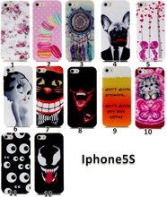 Phone Case For Apple iPhone 5 5S Beautiful Printing Peony Cat Hamburg Children Windmill Pattern Durable Soft TPU Gel Back Cover