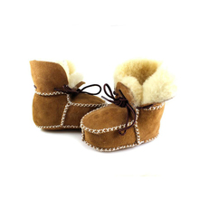 cute Winter warm baby first walker shoes natural wool European thick toddler shoes for 6-18M baby newborn infantil boots shoes(China)