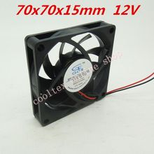 2pcs/lot  70x70x15mm  7015 fans 12 Volt   Brushless 7cm DC Fans  cooling radiator  Free Shipping