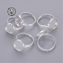Brass Pad Ring Components, Silver Metal Color,Size: about 17mm inner diameter, Tray: about 14mm in diameter, 12mm inner diameter