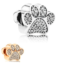 free shipping 1pc silver&rose gold dog paw bead charms Fits European Pandora Charm Bracelets M066