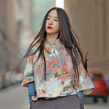 Johnature Cotton Linen Women Coats Loose Print Mural 2017 Autumn New Seven Sleeve Stand Women Fashion Jackets Vintage Sweep Coat