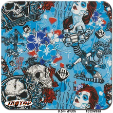 TAKY888 Size 0.5m 10m New Skull Pattern Blue Water Dipping Films Transfer Printing Film Film Hydrographic Film