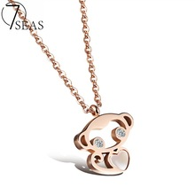 7SEAS Cute Monkey Design Pendant Necklace For Woman Fashion AAA+ CZ & Rose Gold Color Stainless Steel Women Jewelry Gift 7S1036
