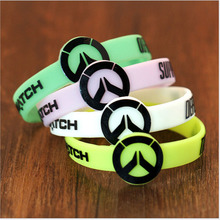 New FPS game Overwatch Silicone Bracelet ow LOGO New green pink Charms Men Women Silicone Wristband Cosplay Jewelry