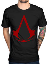 Official Mens Assassins Creed Logo Red T-Shirt Syndicate Rogue Identity Pirates Brand Cotton Men Clothing Male Slim Fit T Shirt