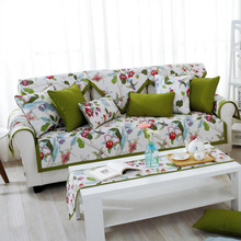 Pastoral Style 100% Cotton Sofa Cover Green Leaves Flowers Printed Slip-resistant Sofa Pads Patchwork Quilting Home Mats
