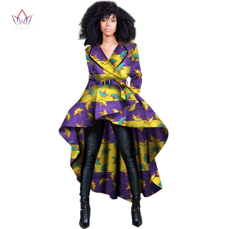 2017 Spring African Women Traditional Top Dashiki Print Wax Elegant Riche Trench Africa Clothes Ladies WY1397