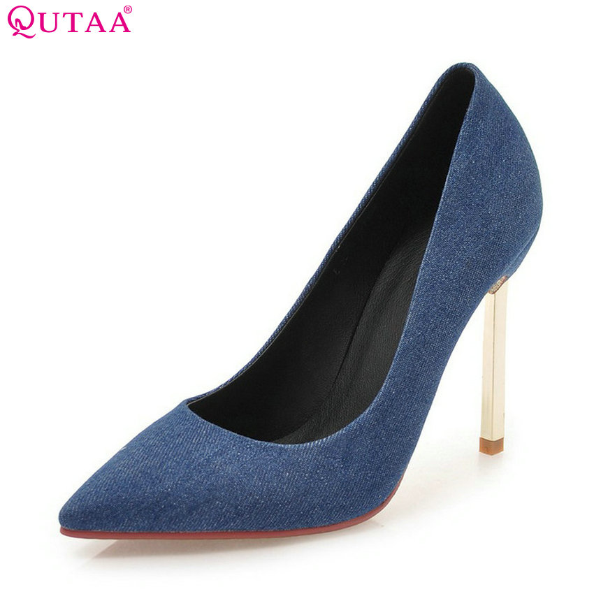 QUTAA 2018 Women Pumps Denim Fashion Thin High Heel Women Shoes Spring/ Summer Pointed Toe Classic Women Pumps Szie 33-43<br>