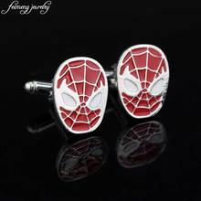 Classic Movie Spider Man Cufflink Novelty Design Face Of Spider-man Red Enamel Cuff Links Men's Fashion Shirt Cuff button