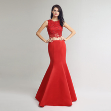 2017 Sexy Red 2 Pieces Floor Length Evening Dresses Lace Appliques Crystal Beaded robe de soiree Evening Gowns LX253