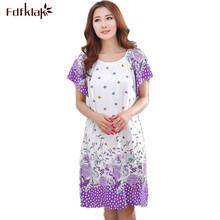 Plus Size Nightgowns For Women 2017 Summer Dressing Gowns Girls Nightshirts Nightdress Cotton And Silk Sleepshirt L-XXL E1082(China)