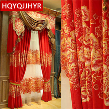 Chinese luxury red wedding prints shade curtains for Living Room/ Kitchen high quality flannel curtains for Bedroom Windows