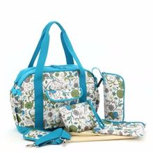 Free Shipping! New 6PCS Flowers Print  Design Baby Changing Nappy Diaper Bag Set Cross Body Tote Mummy Bag-LX113