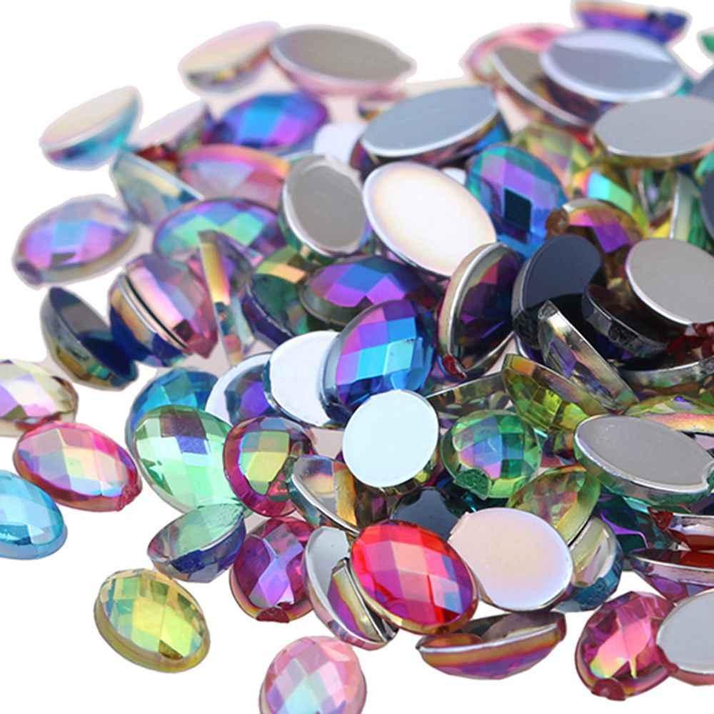 Oval Shape Earth Face 3 Sizes Acrylic Rhinestones Flatback AB Colors Glue  On Beads Clothing Gems 2b6abd90606b