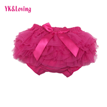Girl PP Shorts Cute Baby Girls Short Pants Cotton Layers Chiffon Ruffled Newborn Bloomer Solid Color Shorts Kids Diaper Covers