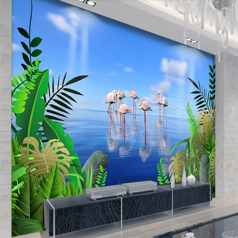 beibehang Tropical rainforest flamingo ocean scenery background wall custom large mural green wallpaper papel de parede<br>